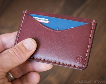 Three Pocket Flat Wallet - burgundy bridle leather