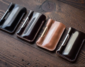 Made-to-order - EDC-1, every day carry pocket knife and pen case, small size - Horween shell cordovan leather