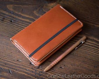 Leuchtturm 1917 Pocket (A6) hardcover notebook wrap cover, bridle leather - chestnut