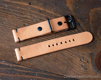 20mm Horween leather two piece watch band - natural leather, black hardware