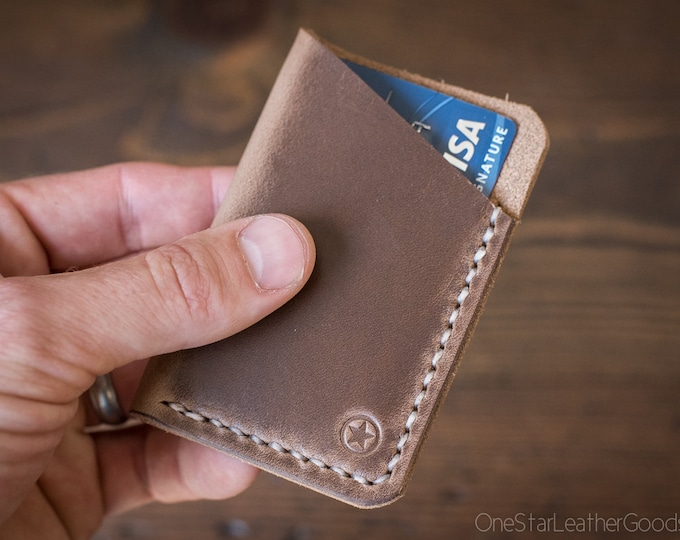 The Minimalist: micro card wallet- natural Horween Chromexcel leather