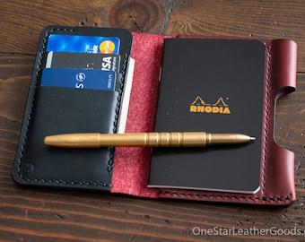 """Notebook/wallet/pen, """"Park Sloper Medium"""" - Horween Chromexcel red / black bridle leather"""