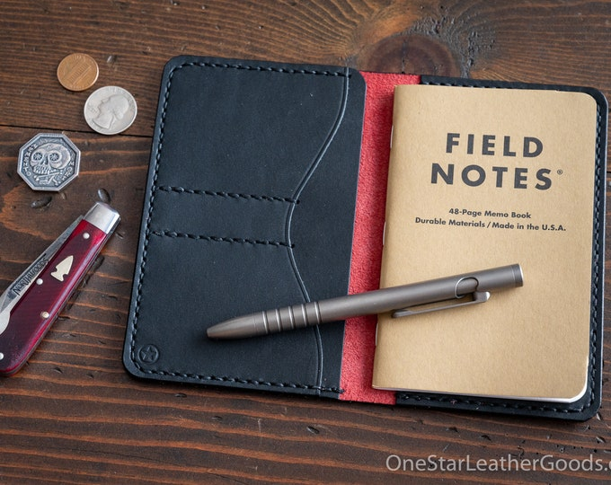 """Notebook wallet """"Park Sloper No Pen,"""" fits Field Notes and other notebooks - Horween Chromexcel red / black bridle leather"""