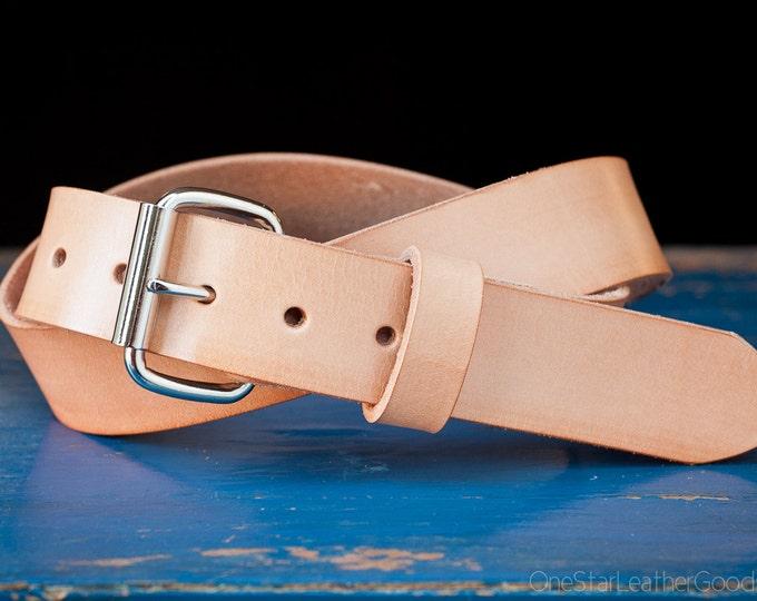 "Custom sized belt - 1.5"" width - natural leather - heel bar buckle"