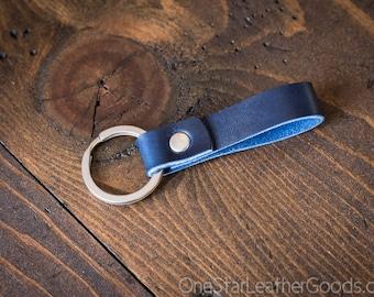 Key fob & keyring, keychain, Horween Chromexcel - blue/silver