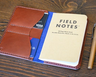 """Notebook wallet """"Park Sloper No Pen,"""" fits Field Notes and other notebooks - Horween blue Chromexcel / chestnut harness leather"""