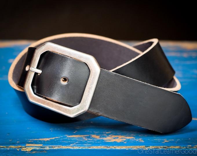 "Custom sized belt - 1.25"" width - Horween Chromexcel leather - center bar buckle - black"