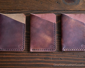 The Minimalist micro card wallet - Horween shell cordovan - marbled burgundy