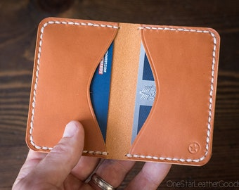Two Pocket Card Wallet - hand stitched - tan bridle leather