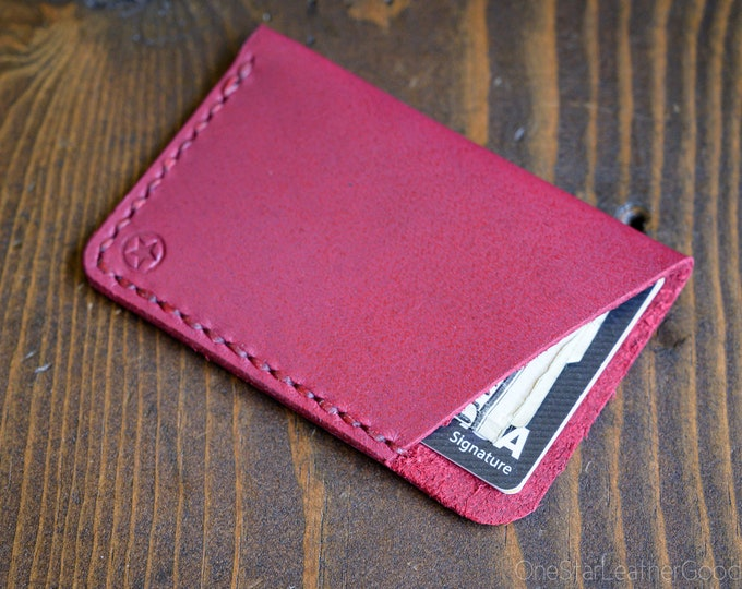 The Minimalist: micro card wallet - Horween leather - magenta