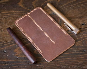 Double Pen Sleeve, Horween Dublin leather - natural color