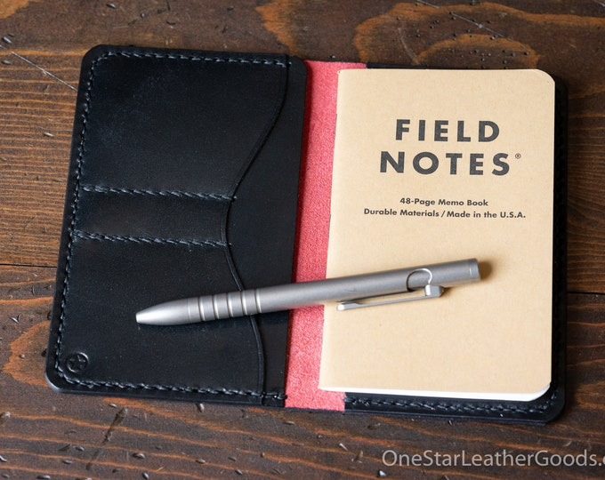 """Notebook wallet """"Park Sloper No Pen,"""" fits Field Notes and other notebooks - Horween red Chromexcel / black bridle"""