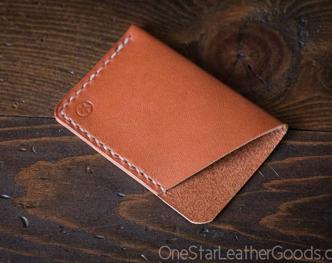 The Minimalist: micro card wallet - chestnut bridle leather