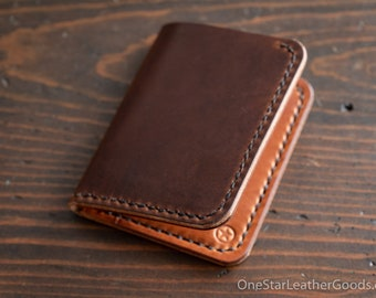 6 Pocket Horizontal Leather Wallet, Horween leather - brown Dublin / chestnut