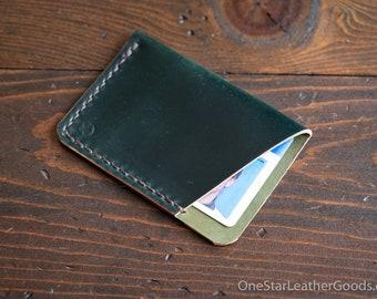 The Minimalist micro card wallet - Horween shell cordovan - green