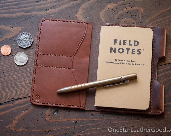 "Field Notes wallet with pen sleeve ""Park Sloper Senior"" Horween Dublin leather - brown / chestnut"