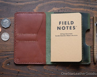 """Field Notes wallet with pen sleeve """"Park Sloper Senior"""" Horween leather - forest green / medium brown bridle"""