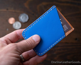 Double Minimalist: micro card wallet - blue/red/tan