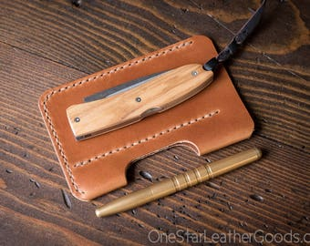 """EDC-2, every day carry pocket knife and pen case, Large size for knives up to 4.5"""" closed - black or chestnut"""
