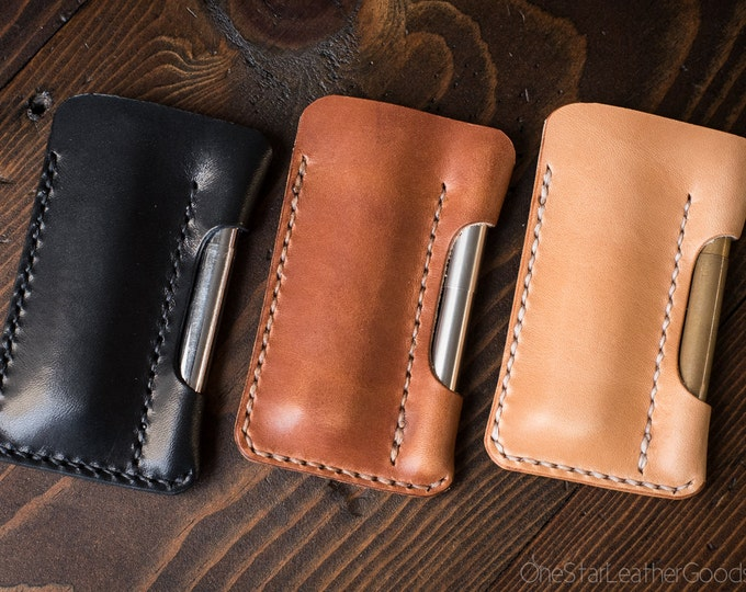 Featured listing image: EDC-1, every day carry pocket knife and pen case, small size, for FisherSpacePen or Kaweco Liliput - black, brown or tan