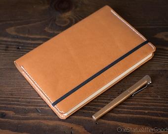Leuchtturm 1917 Medium (A5) Hardcover Notebook wrap cover - tan bridle leather