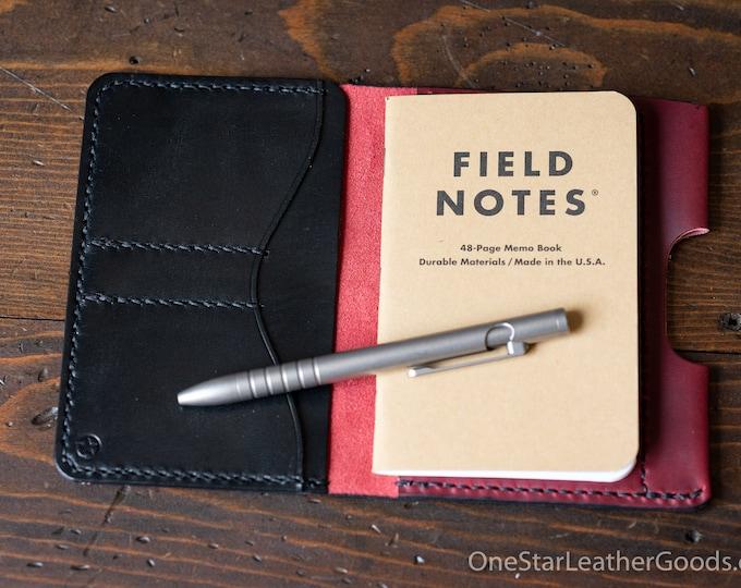 "Field Notes wallet with pen sleeve ""Park Sloper Senior"" Horween Chromexcel leather - red / black"