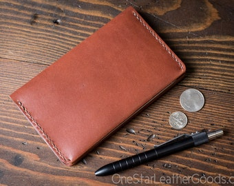 """Simple leather notebook cover for Field Notes and other 3.5x5.5"""" pocket notebooks - medium brown bridle leather"""