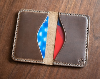 Two Pocket Card Wallet - Horween Chromexcel leather - natural