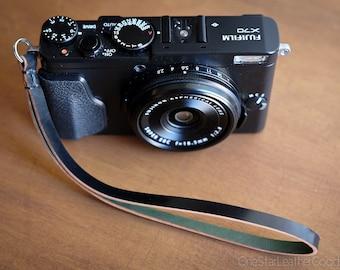 Camera Hand Strap for small cameras - black Horween shell cordovan
