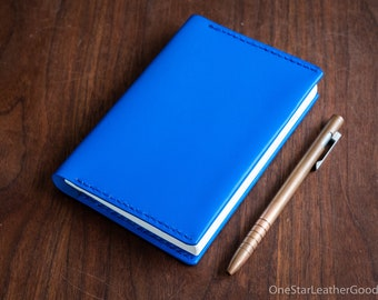 Leather wrap cover for A6 sized softcover notebooks - blue