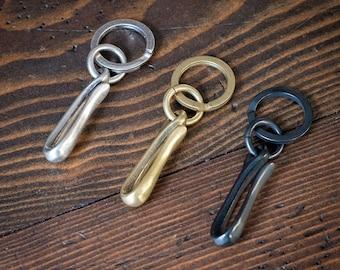 Key ring and pocket hook, Japanese made - brass, matte nickel, black