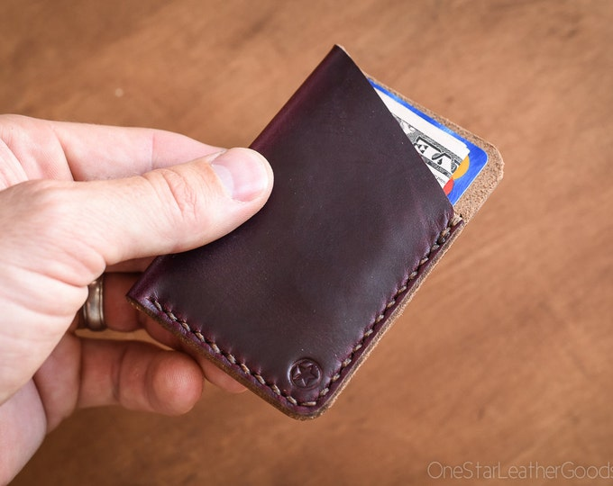 The Minimalist: micro card wallet- burgundy #8 Horween Chromexcel leather