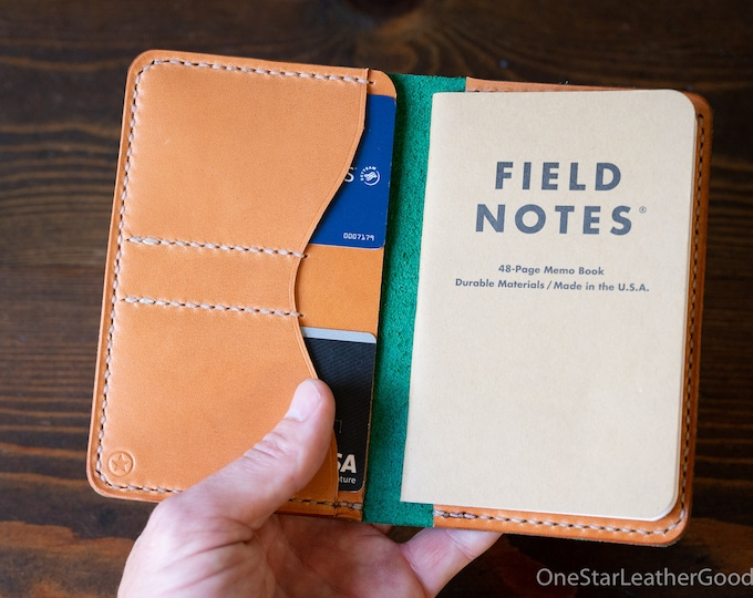 """Notebook wallet """"Park Sloper No Pen,"""" fits Field Notes and other notebooks - Horween green Chromexcel / tan bridle"""
