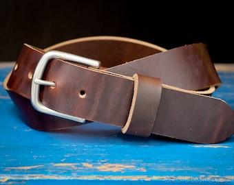 "Custom sized belt - 1.25"" width, Horween Chromexcel leather, heel bar buckle - brown"