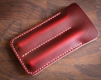 Double Pen Sleeve, Horween Chromexcel leather - red