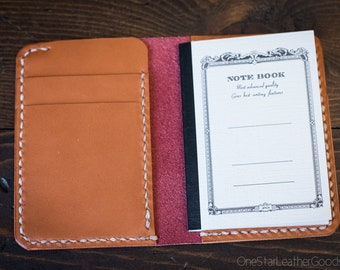 Tiny notebook wallet for Apica CD5 notebook - red / tan