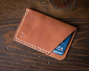 The Minimalist: micro card wallet, business card case, harness leather - chestnut