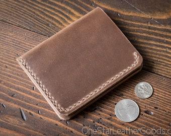 6 Pocket Horizontal wallet, Horween Chromexcel leather - natural / golden thread