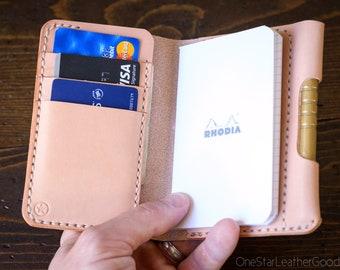 "Notebook/wallet/pen, ""Park Sloper Medium"" - natural skirting leather"