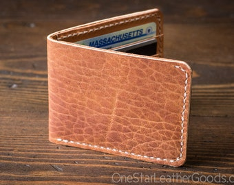 7 Pocket billfold wallet - textured tan Horween leather / tan bridle leather