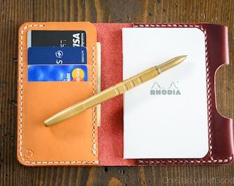 "Notebook/wallet/pen, ""Park Sloper Medium"" - Horween Chromexcel red / tan bridle leather"