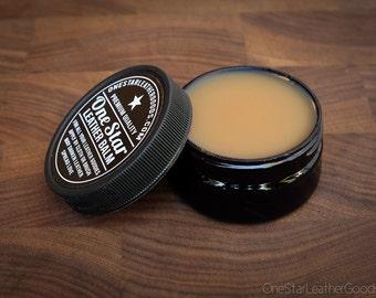 One Star Leather Balm, leather treatment, leather oil - 2oz jar