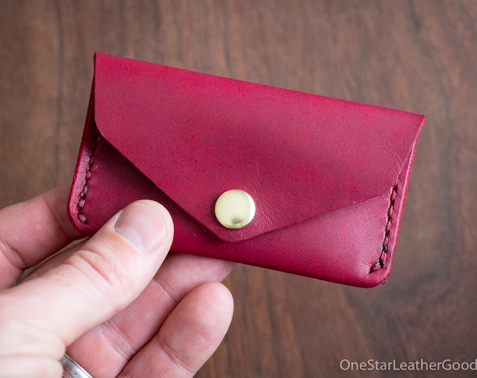 Coin pouch / wallet / business card case, Horween Chromexcel leather - magenta
