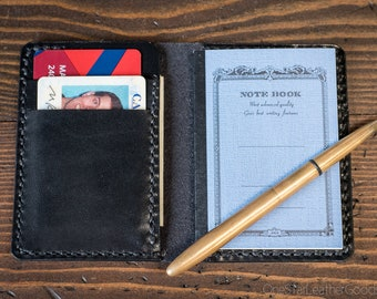 Tiny notebook wallet for Apica CD5 notebook - black harness leather