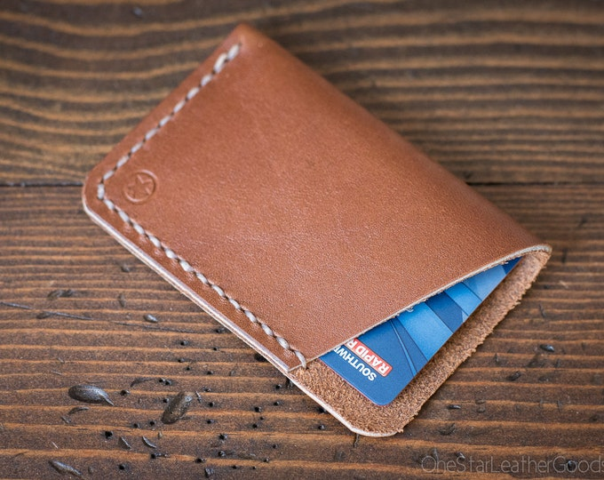 The Minimalist: micro card wallet -  tan Horween leather