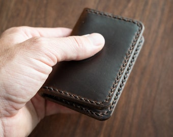 Two Pocket Card Wallet - Horween Chromexcel leather - brown