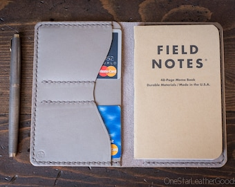 """Notebook wallet """"Park Sloper No Pen,"""" fits Field Notes and other notebooks - grey Horween leather"""