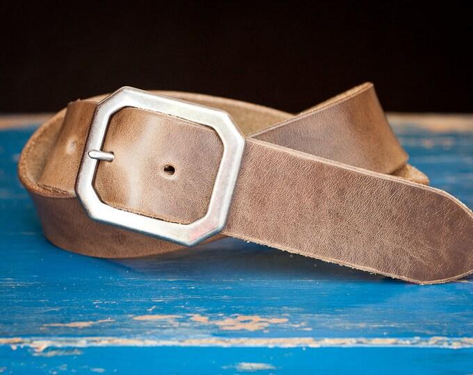 "Custom sized belt - 1.5"" width - Horween Chromexcel leather - center bar buckle - natural chromexcel"