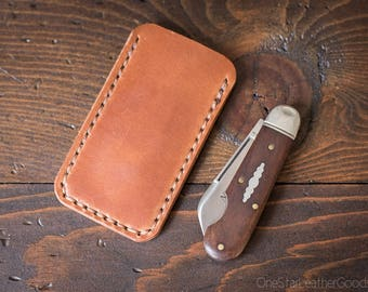 """Pocket knife slip case, size Extra Small, for knives up to 3"""" closed length (MADE-TO-ORDER)"""