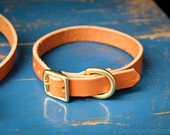 """Dog Collar, 5/8"""" for small to medium sized dogs, leather dog collar, canine neck band - tan"""